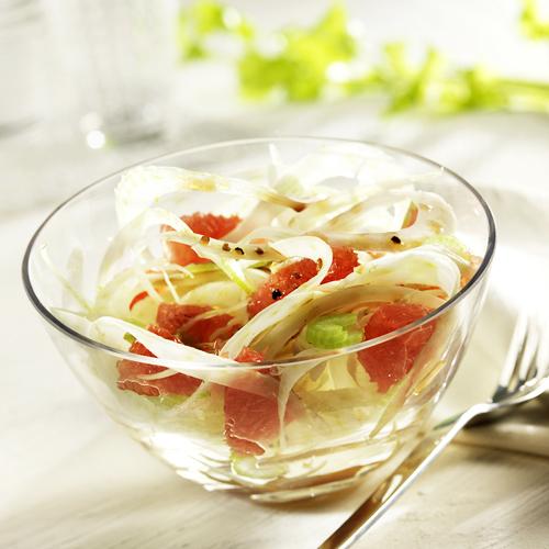 Recette culinaire : fenouils et pamplemousses roses au sirop d'érable
