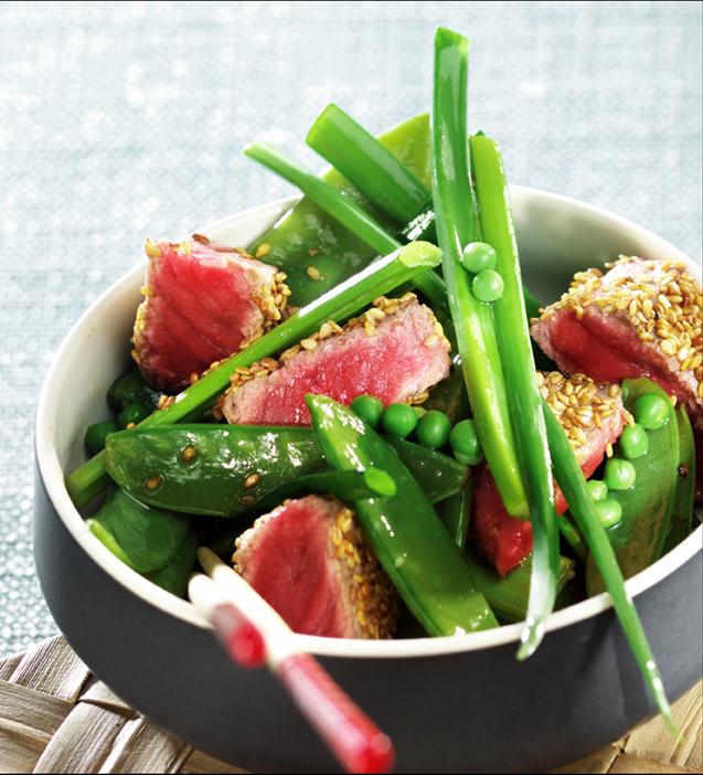 Salade de boeuf aux légumes verts